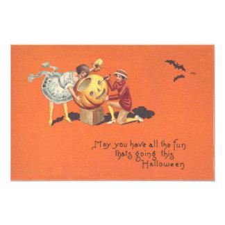 Children Carving Jack O Lantern Pumpkin Bat Photograph