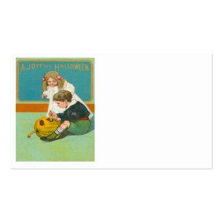 Children Carving Jack O Lantern Pumpkin Pack Of Standard Business Cards