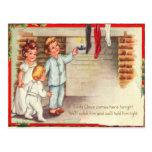 Children Checking Stockings Postcard