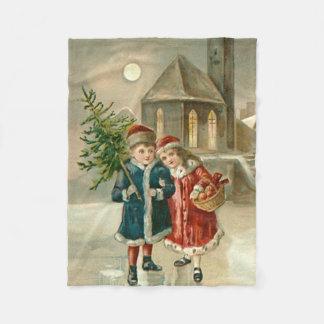 Children Christmas Tree Church Frozen Pond Snow Fleece Blanket