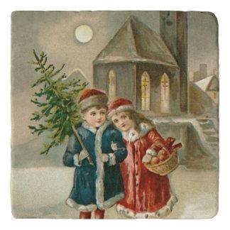 Children Christmas Tree Church Frozen Pond Snow Trivet