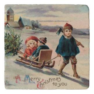 Children Christmas Tree Sled Sleigh Trivet