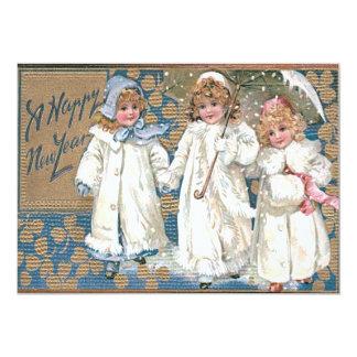 Children Coat Snow Shamrock Umbrella 13 Cm X 18 Cm Invitation Card