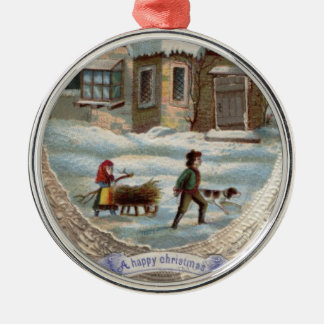 Children collecting wood on a sleigh christmas ornament