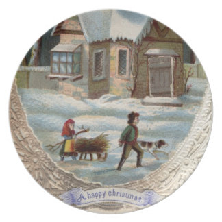 Children collecting wood on a sleigh plate