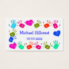 Children Colourful Hand Prints Calling Card