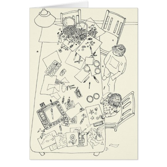 Children Creative Mess Funny Family Line Drawing Card