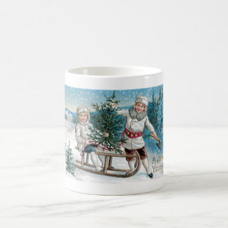 Children cutting down a Christmas Tree Coffee Mug