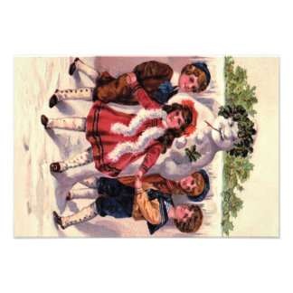 Children Dancing Snowman Wreath Holly Photo