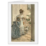 Children, Dog Looking At Tree Greeting Cards
