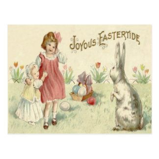 Children Easter Bunny Basket Colored Eggs Postcard