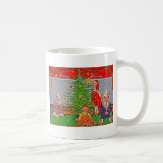 Children Enjoying The Christmas Tree Basic White Mug