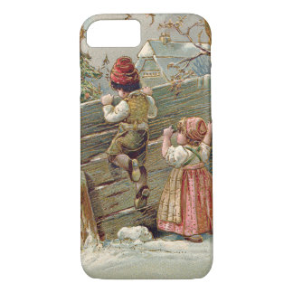 Children Fence Christmas Tree Winter Cottage iPhone 7 Case