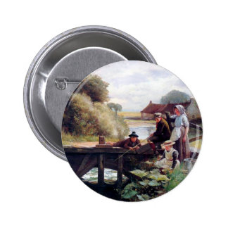 Children Fishing Old Bridge Country Painting Pinback Buttons