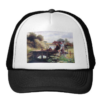 Children Fishing Old Bridge Country Painting Hats