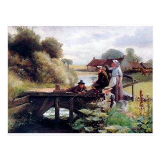 Children Fishing Old Bridge Country Painting Postcard