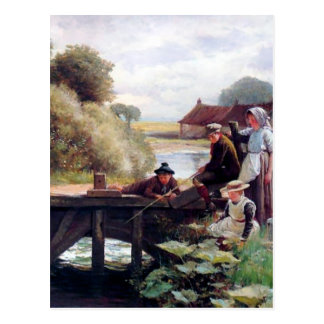 Children Fishing Old Bridge Country Painting Postcard
