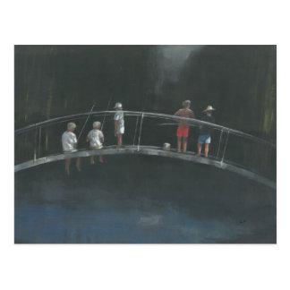 Children fishing postcard