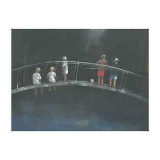 Children fishing stretched canvas prints