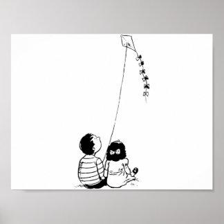 Children Flying A Kite Poster