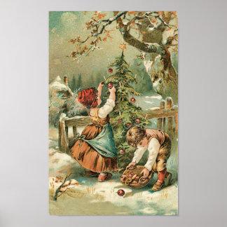 Children Gather Christmas Apples Poster