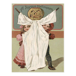 Children Ghost Jack O' Lantern Pumpkin Postcard