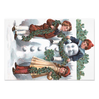 Children Hanging Holly Garland Snowman Photo Print