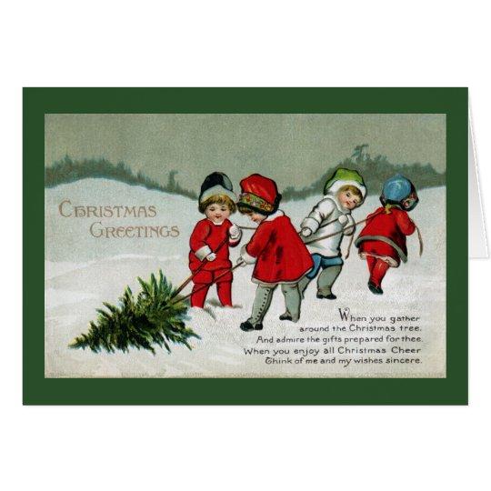 Children Hauling Christmas Tree Vintage Card