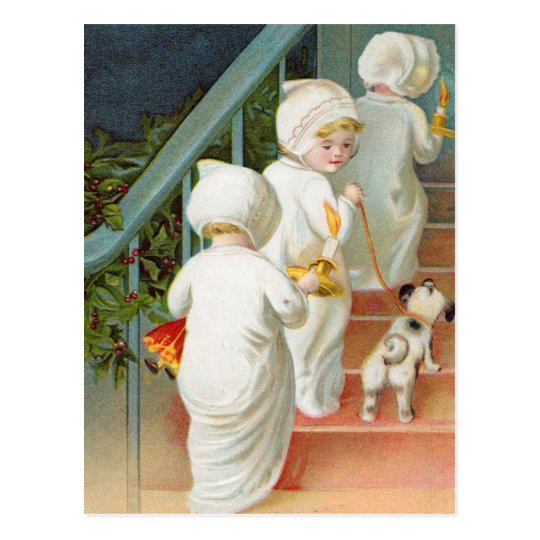 Children Heading To Bed Postcard
