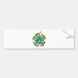 Children holding hands around the earth bumper sticker