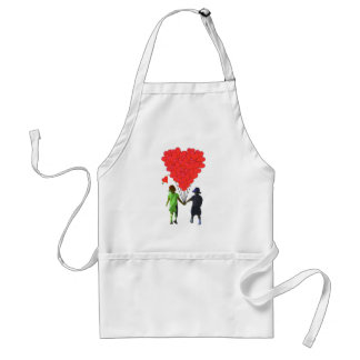 Children holding hands & heart shaped balloons aprons