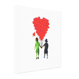 Children holding hands & heart shaped balloons canvas print