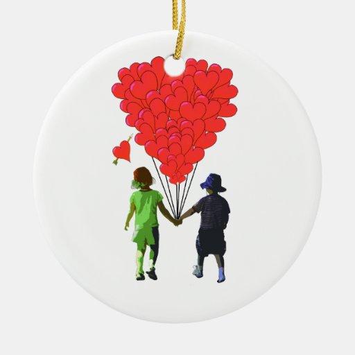Children holding hands & heart shaped balloons ornament