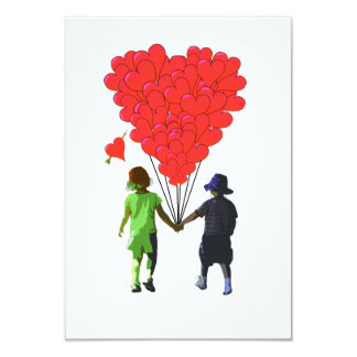 Children holding hands & heart shaped balloons invitations