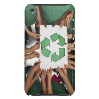 Children holding recycling sign iPod touch case