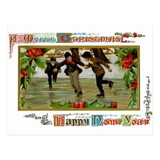 Children Iceskating Postcard