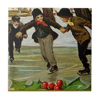 Children Iceskating Small Square Tile