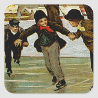 Children Iceskating Square Sticker