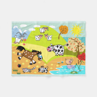 children illustration fleece blanket