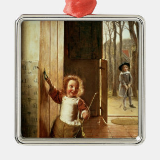 Children in a Doorway with 'Colf' Sticks Christmas Ornament