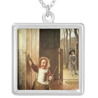 Children in a Doorway with 'Colf' Sticks Silver Plated Necklace