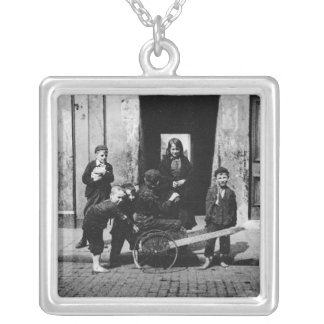 Children in a London slum Silver Plated Necklace