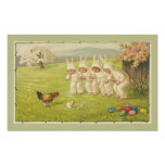 Children in Bunny Suits Easter Poster