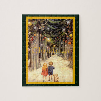 Children in Christmas Lane Jigsaw Puzzle