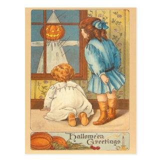 Children Jack O' Lantern Scarecrow Postcard
