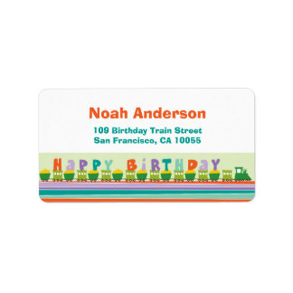Children Kids Birthday Train Custom Address Labels
