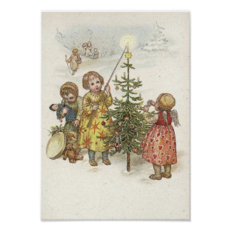 Children Lighting Candle on Tree Print