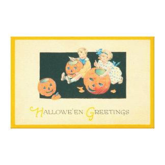 Children Lighting Jack O Lantern Pumpkin Canvas Prints