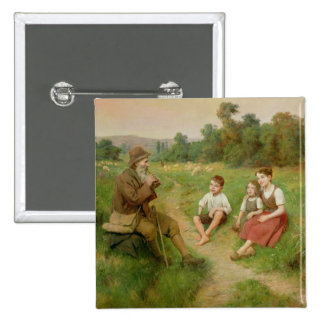 Children Listen to a Shepherd Playing a Flute 15 Cm Square Badge