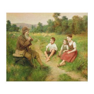 Children Listen to a Shepherd Playing a Flute Canvas Print